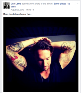 Hillsong pastor Carl Lentz shows off his tattoos on Facebook.