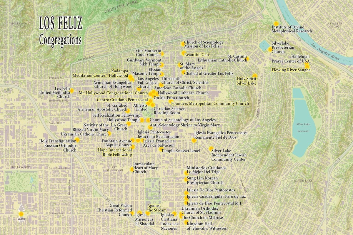 Griffith Park Los Angeles Map.Los Feliz Interactive Map Of Religious Congregations Center For